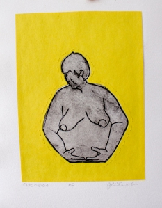 Opie: Yellow, intaglio print with sewing and construction paper